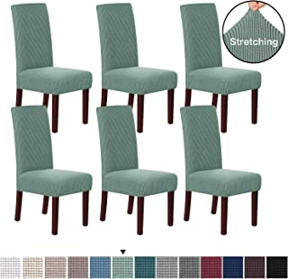 H.VERSAILTEX Stretch Dining Chair Covers Chair Covers for Dining Room Set of 6 Parson Chair Covers Slipcovers Chair Protectors Covers Dining, Feature Textured Checked Jacquard Fabric, Sage