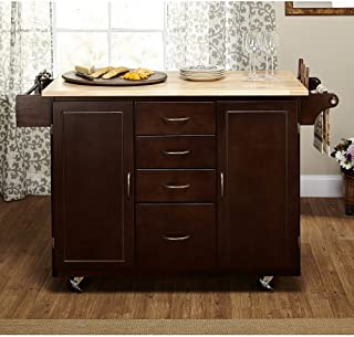 LIVING Contemporary Country Style Mobile Island Rolling Espresso/Natural Country Cottage Kitchen Cart Storage Drawers and 2-Cabinets with Adjustable Shelf Towel Rack Espresso