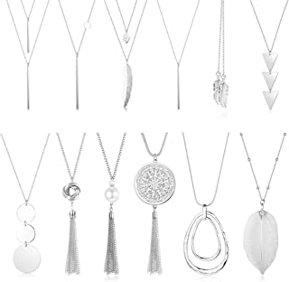 12 Pcs Long Pendant Necklace for Women Leaf Bar Y-Shaped Tassel Triangle Statement Necklace Long Chain Simple Layer Sweater Necklace Set