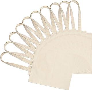 EONO by Amazon - Bolsas de Lona de algodón ecológico 100% con Asas largas, Ligeras, Transpirables y Reutilizables, Ideale...