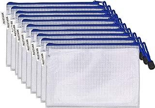 10Pcs Zipper File Bags, AUSTARK Waterproof Zipper Pouch, PVC Document Bag Zipper Folders Document Pouch Receipts Organizer for Office School Home Travel (A5 Size 9.2 x 6.7 Inches White)