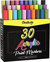 Acrylic Paint Pens for Rock Painting, Stone, Ceramic, Glass, Wood, Canvas - Set of 30 colors, Fine Tip Water based Paint M...