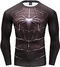 GYMGALA Men's Long Sleeve Spider Hero Shirt Cool 3D Print Compression Shirt