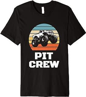 Pit Crew Monster Trucks Happy Sunset Retro Theme Premium T-Shirt