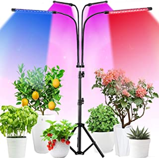 LED Grow Light, 4 Head 360° Rotatable Gooseneck Floor Plant Lamp with Tripod Stand Full Spectrum Brightness Height Adjusta...