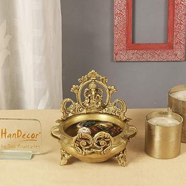 Two Moustaches Brass Ethnic Carved Ganesha Design 7 Inches Brass Decor Urli Decor Bowl (Golden)
