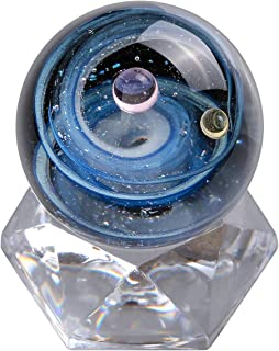 Top Plaza Universe Galaxy Crystal Glass Ball Divination Sphere Sculpture Figurine with Acrylic Stand, Unique Special Galaxy Cosmos Space Home Decoration #1