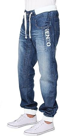 Ze ENZO Mens Cuffed Jeans Regular Leg Casual Denim Jogger Pants (28W / 32L)