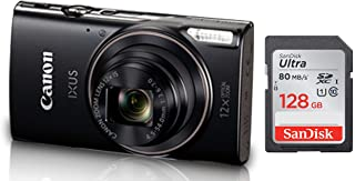 Canon IXUS-285 HS 20.2MP Point and Shoot Camera with 12x Optical Zoom (Black) + SanDisk 128GB Ultra SDXC UHS-I Memory Card - 100MB/s, C10, U1, Full HD, SD Card
