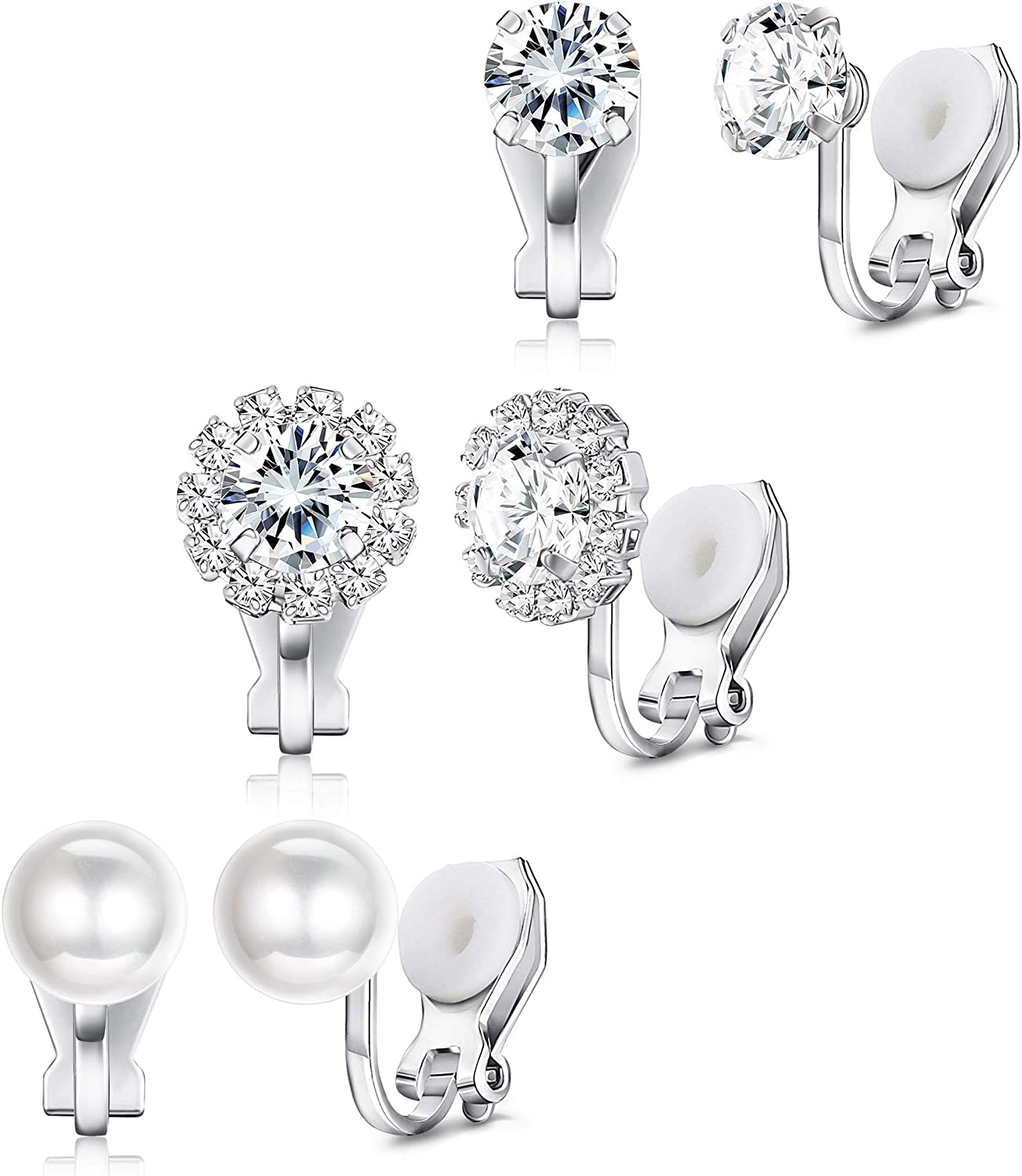 Florideco 3Pairs 14K White Gold Plated Cubic Zirconia Clip On Earrings for Women Halo CZ Pearl Non Pierced Stud Earrings Ear Clip Set