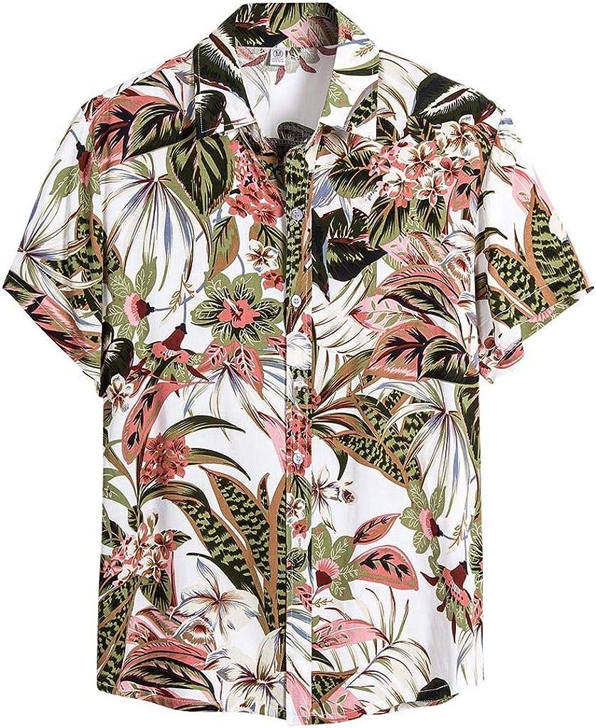 Hawaiian Shirt for Men Funny Floral Graphic Regular Fit Button Down Shirts Casual Summer Short Sleeve Beach Shirt