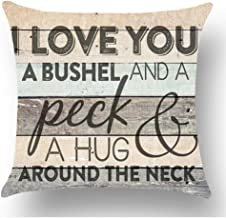 WePurchase Black Words I Love You A Bushel And A Peck & A Hug Around The Neck Grey Wood Grain Background Cotton Linen Decorative Home Sofa Living Room Throw Pillow Case Cushion Cover Square 18x18 Inch