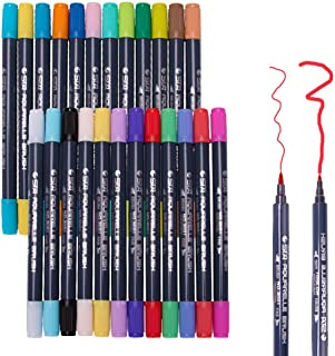 Watercolor Art Marker,24 Colors Dual Tip Brush Marker Pens Set,Flexible Brush & Fineliner Tips,Markers perfect for Adult C...