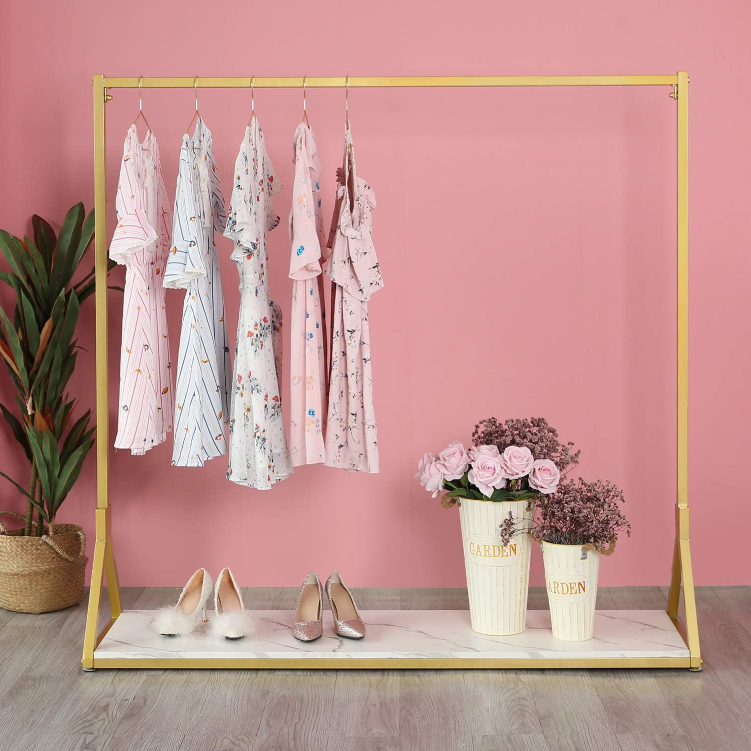 HOMEKAYT Gold Clothing Rack Free Shipping New Modern Metal excellence Woode with Garment