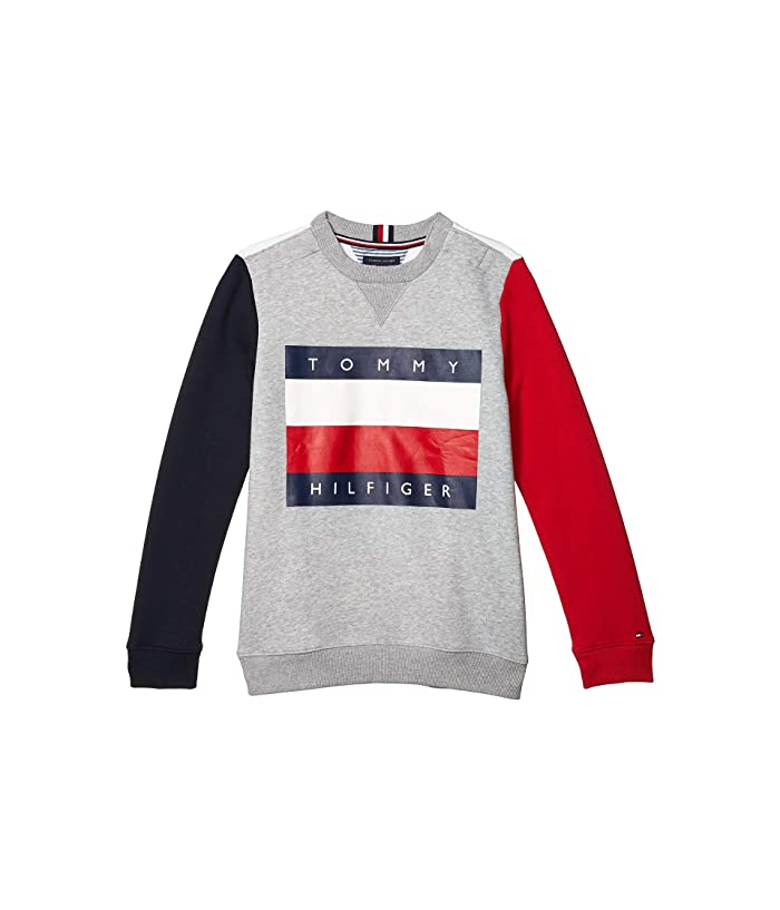Tommy Hilfiger Adaptive  Color Block Icon Sweatshirt (Little Kids/Big Kids) (Metal Grey Heather) Mens Clothing