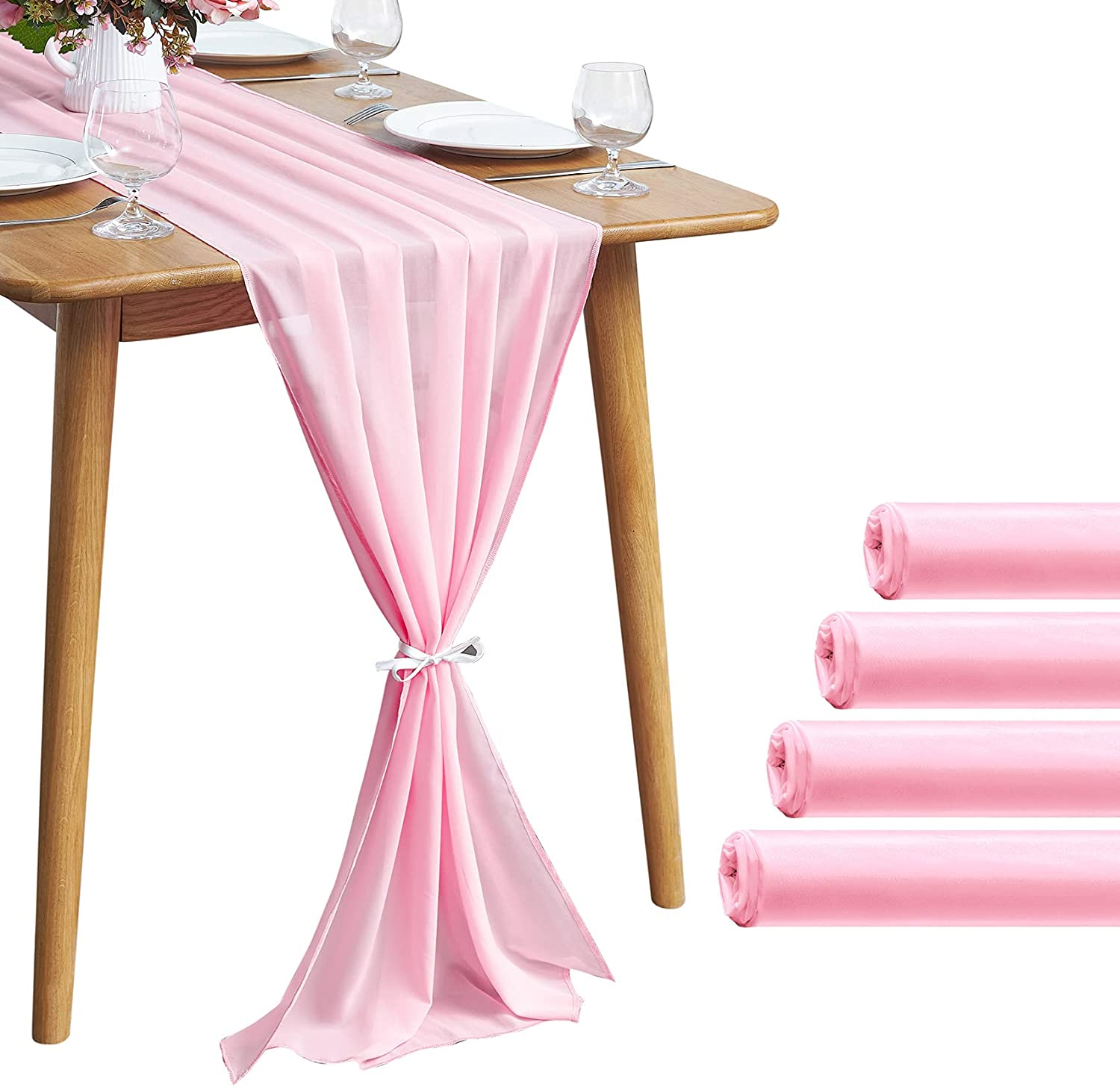 5 Pieces 10Ft Limited price sale Pink Year-end gift Chiffon Table Ro Runner for 29x120 Inch Sheer