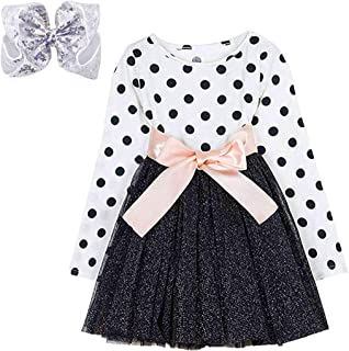 Little Girls Long Sleeves Casual Birthday Dress with Tutu Skirt - Baby Girl's Princess Dress