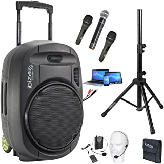 PORT15VHF-MKII 800w SYSTÈME DE SONORISATION PORTABLE AUTONOME - USB-MP3 BLUETOOTH - 4 MICROS Fil et sans fil VHF - Pa Sono...