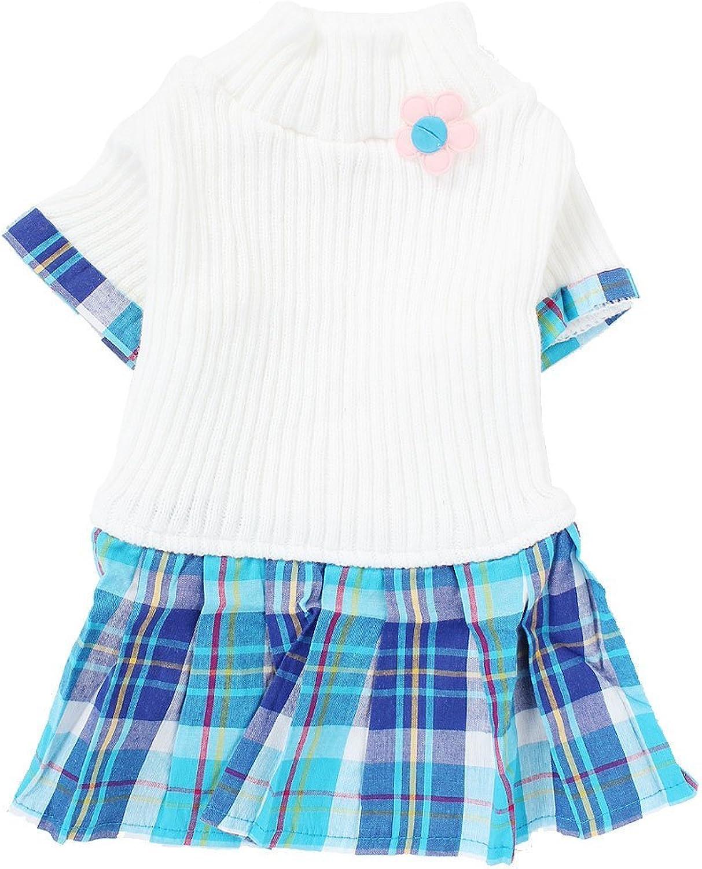 Pet Dog Knitwear Sweater Plaid Dress Skirt Apparel S White