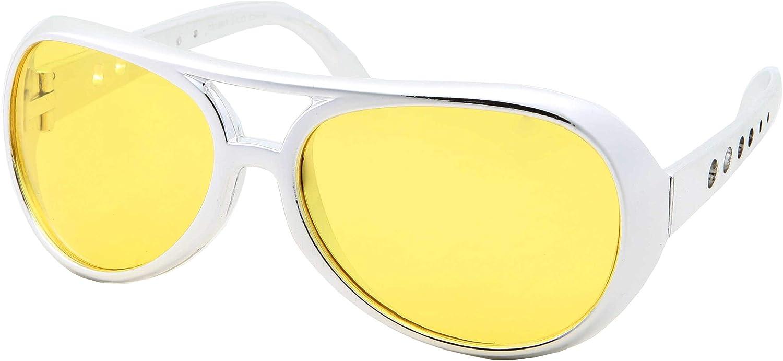 Pink Lens 50/'s 60 Rock Star Sunglasses Elvis Style Aviator Glasses Mens Costume