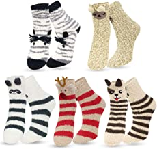 Womens Fuzzy Socks - Plush Slipper Socks Winter Warm Fuzzy Crew Socks Fluffy Cozy Christmas 3D Animal Socks