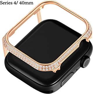 Callancity 40mm Metal Face Cover Plated 18kt Rose Gold Rhinestone White Crystal Case Compatible Apple Watch Series 4 White Crystals for Men/Women (Rose Gold, 40MM)