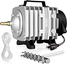 Simple Deluxe LGPUMPAIR65 1030 GPH 35W 65L/min 6 Outlets with Airline Tubing 25 Feet for Aquarium, Pond, Hydroponics Systems Air Pump, Silver
