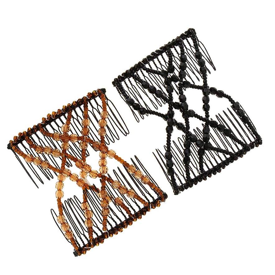リマ批判トラフsharprepublic ストレッチボウビーズ 髪の櫛 ヘアアクセサリー クリップ 約8.5 x 7.5 cm
