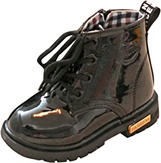 Gaorui Boys' Martin Ankle Snow Boots Miltary Waterproof Pu Leather Shoes