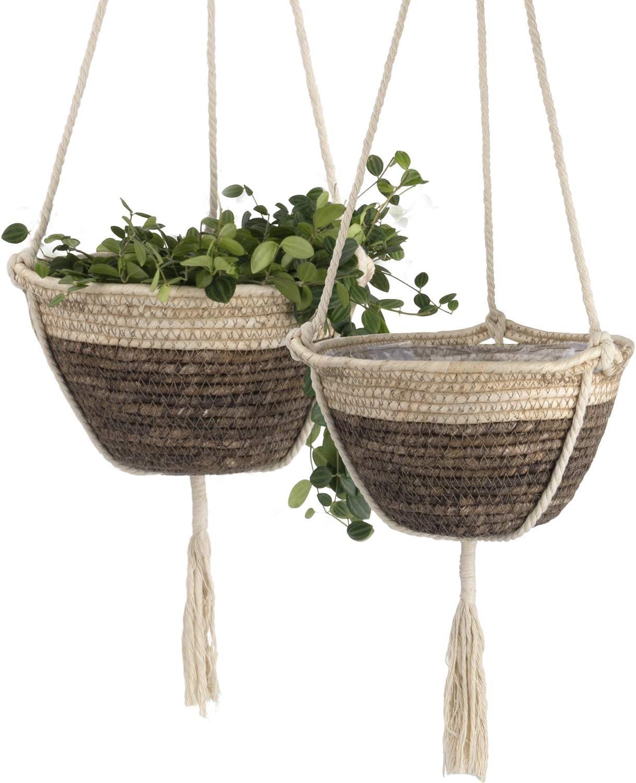 La Jolie Muse Natural Corn Skin Planter Hanging Planter Set, Eco-Friendly Boho Decor Indoor Plant Pots, 9 (D) 6(H) Inch, Brown & Vanilla Ice Color, Pack 2