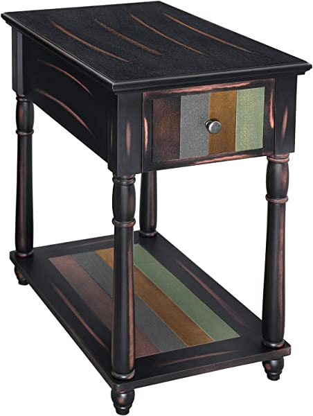 VASAGLE Narrow End Table With Drawer 3 Tier Nightstand With Colorful Storage Shelf Rustic Sofa Side Table With Solid Wood Legs For Living Room Country Brown ULET20GL