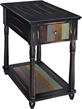VASAGLE Narrow End Table with Drawer, 3-Tier Nightstand with Colorful Storage Shelf, Rustic Sofa Side Table with Solid Wood Legs, for Living Room, Country Brown ULET20GL