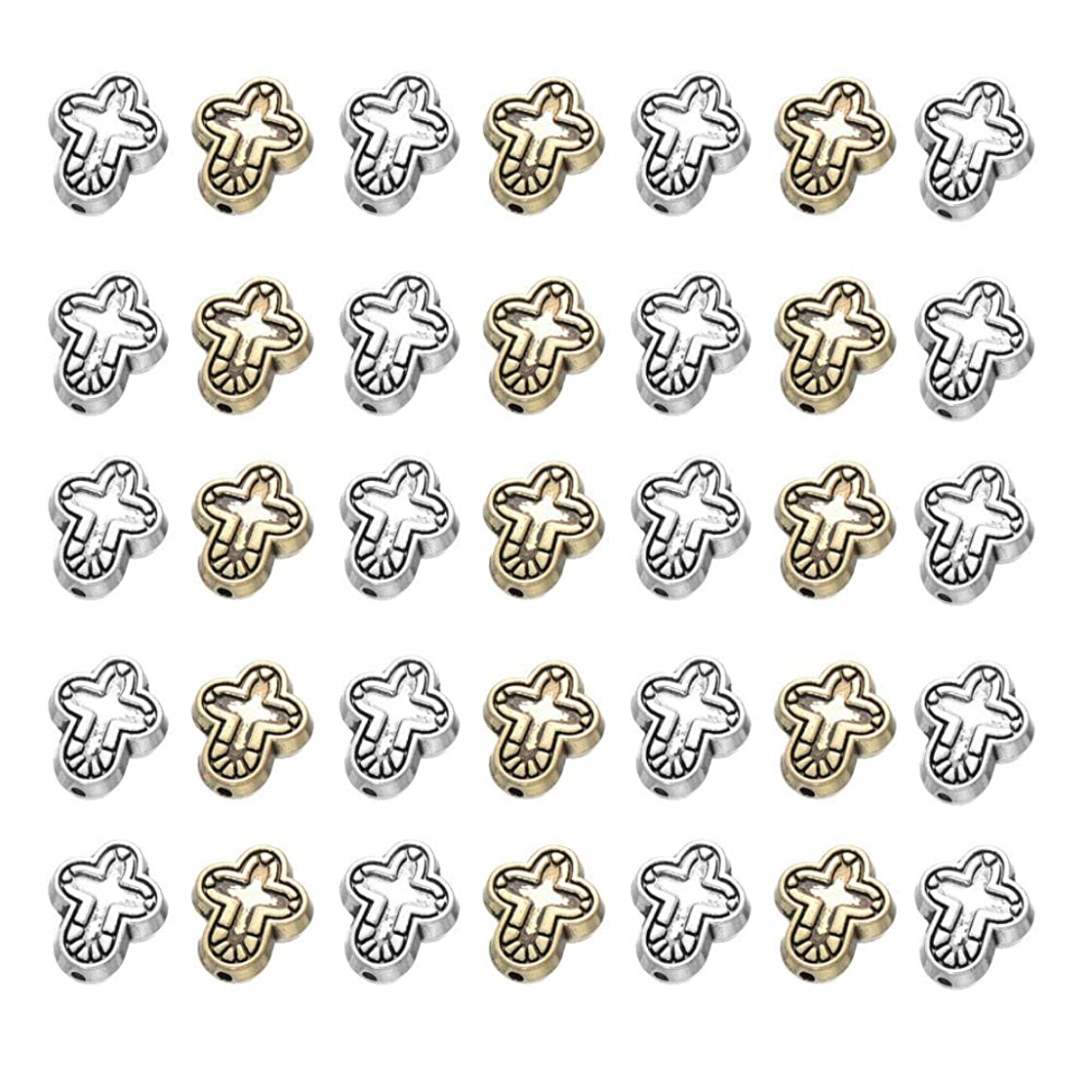 Mystart 100 Pieces Alloy Bracelets Cross Loose Beads Necklace Pendants Charms DIY Jewelry Accessories
