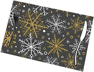Placemats for Dining Table Set of 6,Hand Drawn Winter Christmas Seamless Pattern with Gold White Black Table mat 12x18 inch