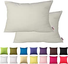 Queenie - 2 Pcs Solid Color Cotton Decorative Pillowcase Cushion Cover for Sofa Throw Pillow Case Available in 14 Colors & 5 Sizes (13.75 x 19.75 Inch (35 x 50 cm), Ivory)