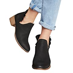 490cebde0cf Fashare Womens Fall Cutout Ankle Booties Low Stacked Heel Sli .