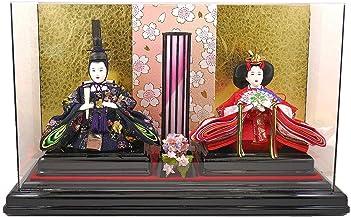 【人形の秀月】雛人形(ひな人形) 親王ケース飾り コードレス(S) 紺 「円形あんどん 」ひな人形 初節句 間口/43㎝ 奥行/18㎝ 高さ/26㎝