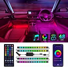 Homeyard RGBIC Interior Car LED Lights Bluetooth APP IR Remote Music Sync with Car Charger Controller Box Two-Line Design ...