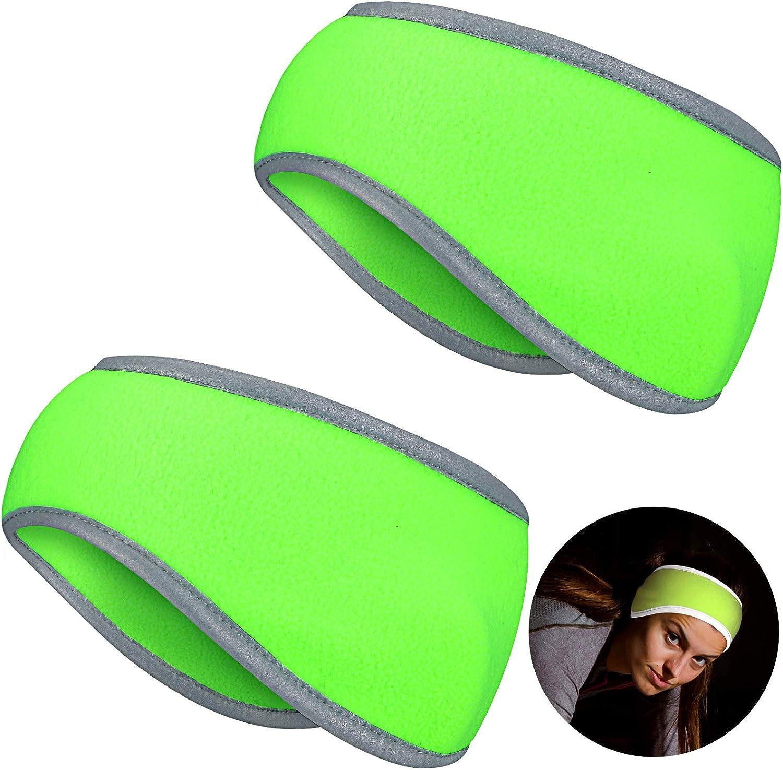 Geyoga 2 Pieces Ear Warmer Headband High Visibility Reflective Safety Headband Winter Running Headband Fleece Ear Covers for Girls Women Men