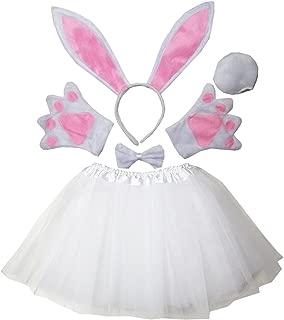 Kirei Sui Kids Easter Bunny Costume Ears Headband Bowtie Tail Tutu Paws Set