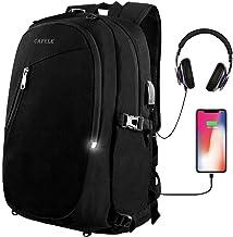 CAFELE Laptop Backpack,Travel Computer Bag for Women Men,Anti Theft Water Resistant College School Bookbag,Slim Business Backpacks with USB Charging Port Fits15.6 Laptop Notebook,Black
