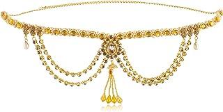 WomenSky Stylish Gold Polished Pearl Kamarband for Women (Golden)