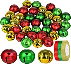 "Winlyn 36 Pcs Assorted Christmas Sleigh Bells 2"" Red Green Gold Metallic Jingle Bells Craft Bells for Xmas Holiday Tree Wr..."