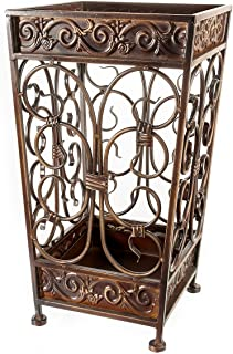 Brelso Metal Square Umbrella Stand with Removable Drip Tray, Red / Brown
