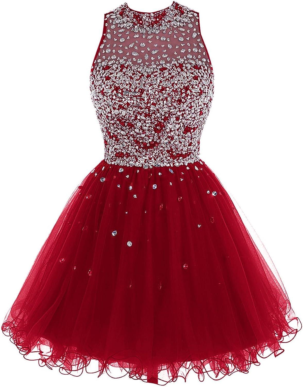 Bbonlinedress Short Tulle ALine Prom Gowns Beaded Homecoming Dresses