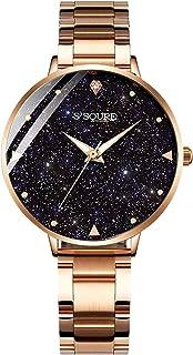 IK Women Quartz Watch, Rhinestone Starry Sky Dial Fashion Wrist Ladies Bracelets Watches Stainless Steel Mesh Band
