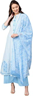 Ishin Women's Cotton White & Blue Printed Anarkali Kurta Palazzo Dupatta Set