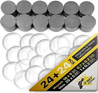 Keramische magneten voor ambachten met transparant glas cabochons - helder glas koepel 2,5 cm en ferrietmagneten 1,7 cm (...