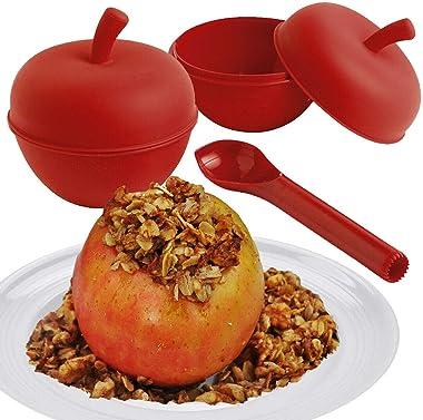 2 Oven & Microwave Safe Lidded Baking Pans Set Individual Ramekins + Apple Corer