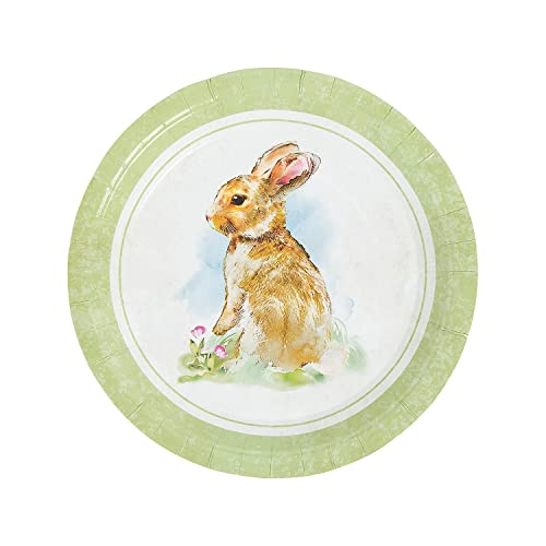 Tag Botanical Bunny Round Decorative Glass Plate 8 Inch